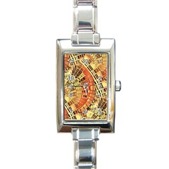Semi Circles Abstract Geometric Modern Art Orange Rectangle Italian Charm Watch by CrypticFragmentsDesign