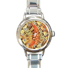Semi Circles Abstract Geometric Modern Art Orange Round Italian Charm Watch by CrypticFragmentsDesign
