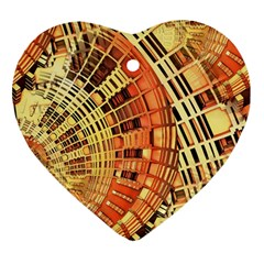 Semi Circles Abstract Geometric Modern Art Orange Ornament (heart)  by CrypticFragmentsDesign