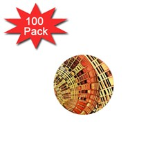 Semi Circles Abstract Geometric Modern Art Orange 1  Mini Magnets (100 Pack)  by CrypticFragmentsDesign