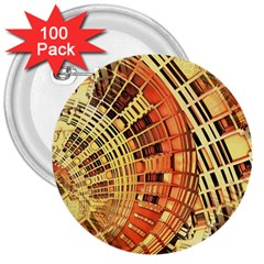 Semi Circles Abstract Geometric Modern Art Orange 3  Buttons (100 Pack)  by CrypticFragmentsDesign