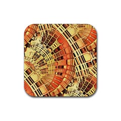 Semi Circles Abstract Geometric Modern Art Orange Rubber Square Coaster (4 Pack)  by CrypticFragmentsDesign