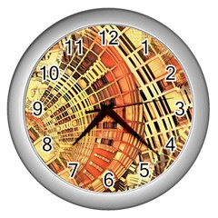 Semi Circles Abstract Geometric Modern Art Orange Wall Clocks (silver)  by CrypticFragmentsDesign