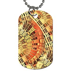 Semi Circles Abstract Geometric Modern Art Orange Dog Tag (one Side) by CrypticFragmentsDesign