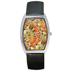 Semi Circles Abstract Geometric Modern Art Orange Barrel Style Metal Watch by CrypticFragmentsDesign