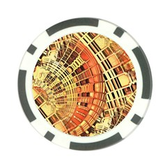 Semi Circles Abstract Geometric Modern Art Orange Poker Chip Card Guards by CrypticFragmentsDesign