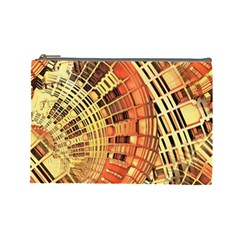 Semi Circles Abstract Geometric Modern Art Orange Cosmetic Bag (large)  by CrypticFragmentsDesign