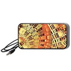Semi Circles Abstract Geometric Modern Art Orange Portable Speaker (black)  by CrypticFragmentsDesign