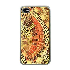 Semi Circles Abstract Geometric Modern Art Orange Apple Iphone 4 Case (clear) by CrypticFragmentsDesign