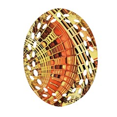 Semi Circles Abstract Geometric Modern Art Orange Oval Filigree Ornament (2 Side)  by CrypticFragmentsDesign