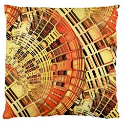 Semi Circles Abstract Geometric Modern Art Orange Large Cushion Case (two Sides) by CrypticFragmentsDesign
