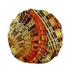 Semi Circles Abstract Geometric Modern Art Orange Standard 15  Premium Round Cushions by CrypticFragmentsDesign