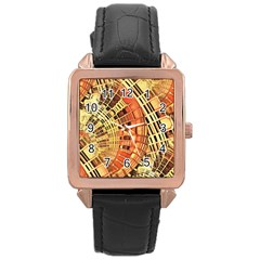 Semi Circles Abstract Geometric Modern Art Orange Rose Gold Leather Watch  by CrypticFragmentsDesign