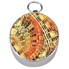 Semi Circles Abstract Geometric Modern Art Orange Silver Compasses by CrypticFragmentsDesign