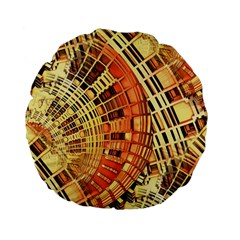 Semi Circles Abstract Geometric Modern Art Orange Standard 15  Premium Flano Round Cushions by CrypticFragmentsDesign