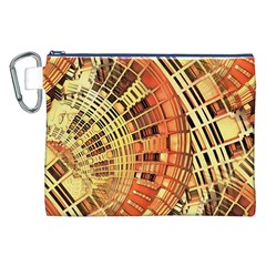 Semi Circles Abstract Geometric Modern Art Orange Canvas Cosmetic Bag (xxl)  by CrypticFragmentsDesign