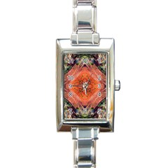 Boho Bohemian Hippie Floral Abstract Faded  Rectangle Italian Charm Watch by CrypticFragmentsDesign
