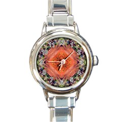 Boho Bohemian Hippie Floral Abstract Faded  Round Italian Charm Watch by CrypticFragmentsDesign