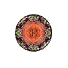 Boho Bohemian Hippie Floral Abstract Faded  Hat Clip Ball Marker by CrypticFragmentsDesign