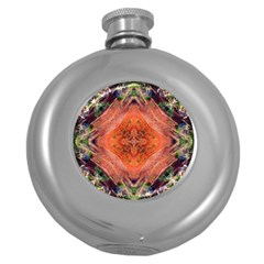 Boho Bohemian Hippie Floral Abstract Faded  Round Hip Flask (5 oz) by CrypticFragmentsDesign