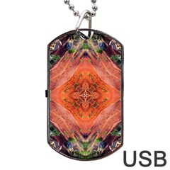 Boho Bohemian Hippie Floral Abstract Faded  Dog Tag Usb Flash (one Side) by CrypticFragmentsDesign
