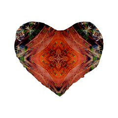 Boho Bohemian Hippie Floral Abstract Faded  Standard 16  Premium Heart Shape Cushions by CrypticFragmentsDesign