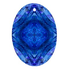 Boho Bohemian Hippie Tie Dye Cobalt Ornament (oval)  by CrypticFragmentsDesign