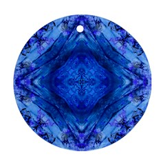 Boho Bohemian Hippie Tie Dye Cobalt Round Ornament (two Sides)  by CrypticFragmentsDesign