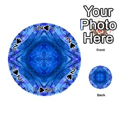 Boho Bohemian Hippie Tie Dye Cobalt Playing Cards 54 (round)  by CrypticFragmentsDesign