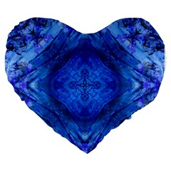 Boho Bohemian Hippie Tie Dye Cobalt Large 19  Premium Heart Shape Cushions by CrypticFragmentsDesign