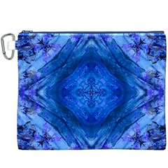 Boho Bohemian Hippie Tie Dye Cobalt Canvas Cosmetic Bag (XXXL)  by CrypticFragmentsDesign