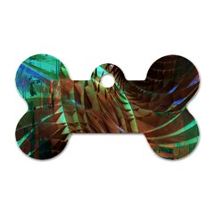 Metallic Abstract Copper Patina  Dog Tag Bone (two Sides) by CrypticFragmentsDesign
