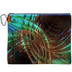 Metallic Abstract Copper Patina  Canvas Cosmetic Bag (XXXL)  by CrypticFragmentsDesign