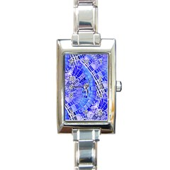 Semi Circles Abstract Geometric Modern Art Blue  Rectangle Italian Charm Watch by CrypticFragmentsDesign