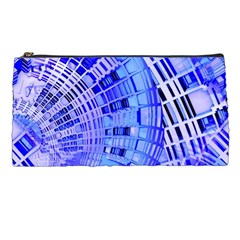 Semi Circles Abstract Geometric Modern Art Blue  Pencil Cases by CrypticFragmentsDesign