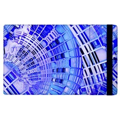 Semi Circles Abstract Geometric Modern Art Blue  Apple Ipad 2 Flip Case by CrypticFragmentsDesign