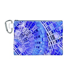 Semi Circles Abstract Geometric Modern Art Blue  Canvas Cosmetic Bag (m) by CrypticFragmentsDesign