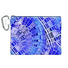 Semi Circles Abstract Geometric Modern Art Blue  Canvas Cosmetic Bag (xl)  by CrypticFragmentsDesign