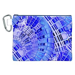 Semi Circles Abstract Geometric Modern Art Blue  Canvas Cosmetic Bag (xxl)  by CrypticFragmentsDesign