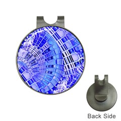 Semi Circles Abstract Geometric Modern Art Blue  Hat Clips With Golf Markers by CrypticFragmentsDesign