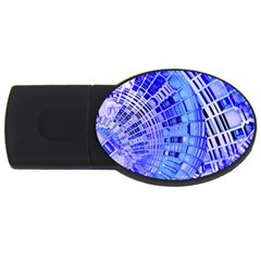 Semi Circles Abstract Geometric Modern Art Blue  Usb Flash Drive Oval (4 Gb)  by CrypticFragmentsDesign