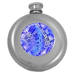 Semi Circles Abstract Geometric Modern Art Blue  Round Hip Flask (5 Oz) by CrypticFragmentsDesign
