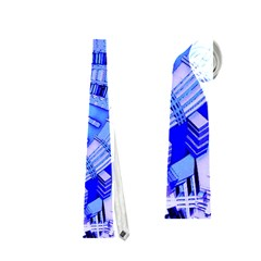 Semi Circles Abstract Geometric Modern Art Blue  Neckties (two Side)  by CrypticFragmentsDesign