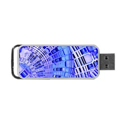 Semi Circles Abstract Geometric Modern Art Blue  Portable Usb Flash (one Side) by CrypticFragmentsDesign