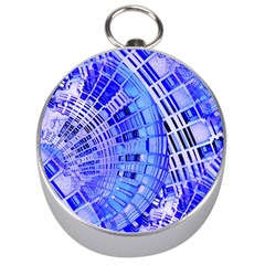 Semi Circles Abstract Geometric Modern Art Blue  Silver Compasses by CrypticFragmentsDesign