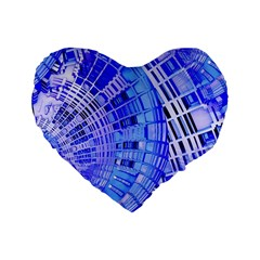 Semi Circles Abstract Geometric Modern Art Blue  Standard 16  Premium Flano Heart Shape Cushions by CrypticFragmentsDesign