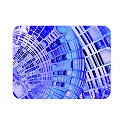 Semi Circles Abstract Geometric Modern Art Blue  Double Sided Flano Blanket (mini)  by CrypticFragmentsDesign