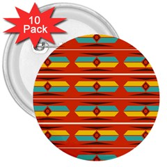 Shapes In Retro Colors Pattern                        			3  Button (10 Pack) by LalyLauraFLM