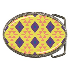 Tribal Shapes And Rhombus Pattern                        			belt Buckle by LalyLauraFLM