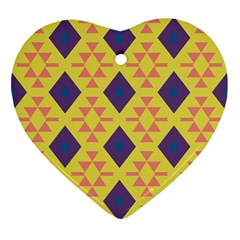 Tribal Shapes And Rhombus Pattern                        			ornament (heart) by LalyLauraFLM